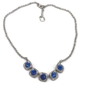 Monet Silver Blue Crystal Necklace